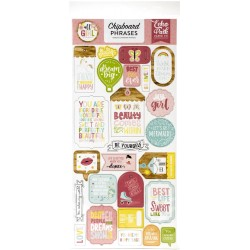 "All Girl 6""x12"" Adhesive Chipboard Phrases Echo Park"