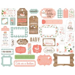 Baby Girl Frames & Tags Die Cut Cardstock Pieces Echo Park