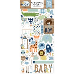 "Baby Boy 6""x12"" Adhesive Chipboard Accents Echo Park"