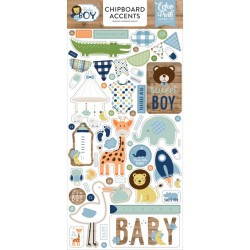 "Baby Boy 6""x12"" Adhesive Chipboard Phrases Echo Park"