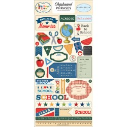 "School Days 6""x12"" Adhesive Chipboard Phrases Carta Bella"