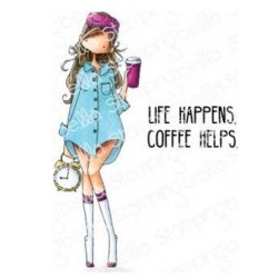 Loves Coffee Curvy Girl Collection Cling Stamps Stamping Bella